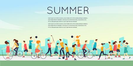 Körperliche Aktivität Menschen in Outdoor-Sport engagiert, Laufen, Radfahren, Skaten, Rollerskating, Kajaks, Tennis, Segeln, Surfen, Sommer. Flaches Design Vektor-Illustration.