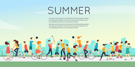 outdoor activities: Physical activity people engaged in outdoor sports, running, cycling, skateboarding, roller skating, kayaks, tennis, sailing, surfing, summer. Flat design vector illustration.