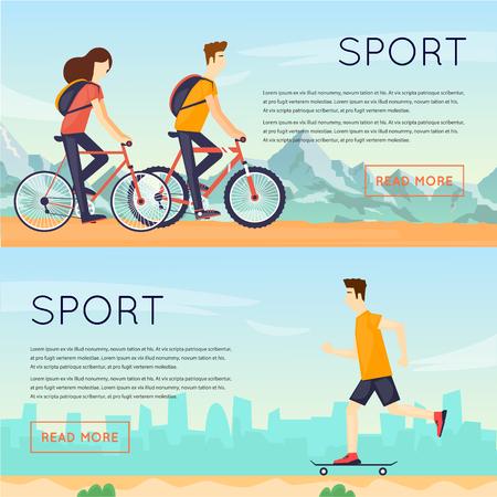 personas corriendo: las personas dedicadas a la actividad física al aire libre de los deportes, el ciclismo, el patín y el verano. ilustración vectorial diseño plano. Banners.