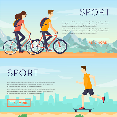 outdoor sports: Physical activity people engaged in outdoor sports, cycling, skateboarding, summer. Flat design vector illustration. Banners.