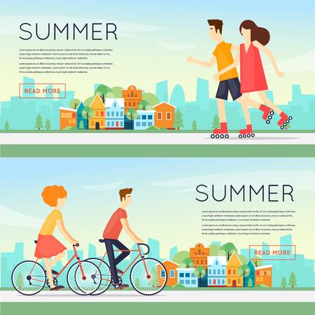 teen golf: las personas dedicadas a la actividad física deportes al aire libre, ciclismo, patinaje sobre ruedas, verano. ilustración vectorial diseño plano. Banners. Vectores