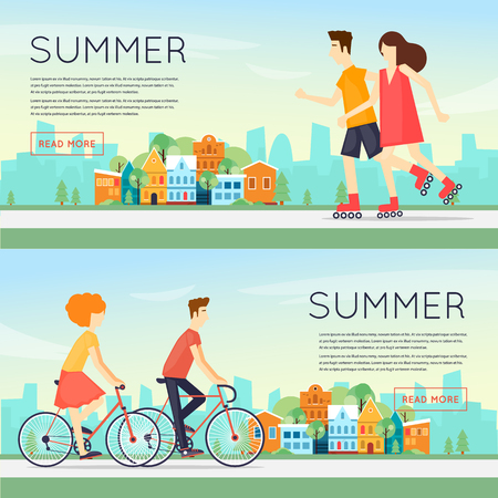 outdoor sports: Physical activity people engaged in outdoor sports, cycling, roller skating, summer. Flat design vector illustration. Banners.