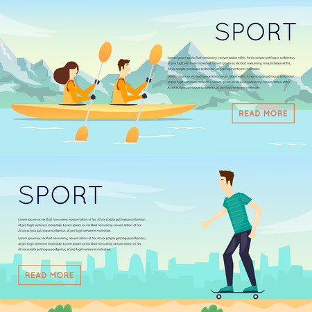 sports activity: Physical activity people engaged in outdoor sports kayak, skateboarding, summer. Flat design vector illustration. Banners.