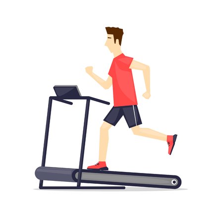young adult: Young adult man running on treadmill, sport, fitness, athletics, healthy lifestyle. Cartoon. Vector illustration flat design.