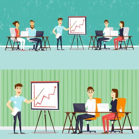 colleagues: Coworking people, business meeting, teamwork, business, collaboration and discussion, meeting around a conference table, brainstorm. Flat design vector illustration.