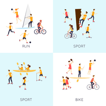 physical activity: Physical activity people engaged in outdoor sports, running, cycling, skateboarding, roller skating, kayaks, tennis, sailing, surfing, summer. Flat design vector illustration.