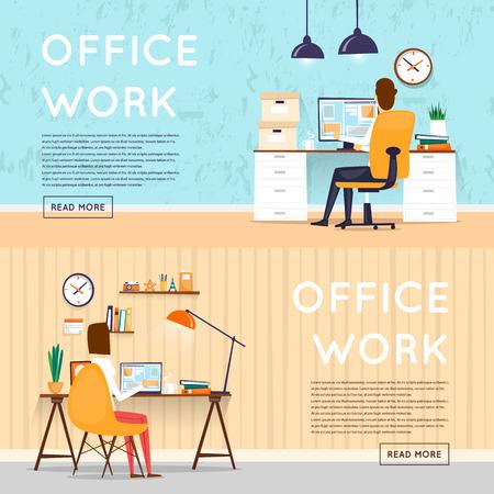 Man en vrouw zitten aan de tafel en werken op de computer. Business, office werk, werkplaats. Platte ontwerp vector illustratie. Stock Illustratie