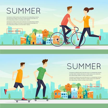 teen golf: las personas f�sicas dedicadas a la actividad deportiva al aire libre, correr, andar en bicicleta, skate, el verano. ilustraci�n vectorial dise�o plano. Banners.