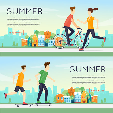 sports activity: Physical activity people engaged in outdoor sports, running, cycling, skateboarding, summer. Flat design vector illustration. Banners. Illustration