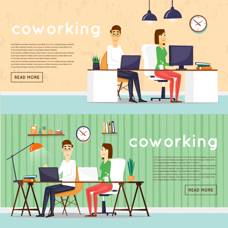 conference table: Coworking people, business meeting, teamwork, business, collaboration and discussion, meeting around a conference table, brainstorm. Flat design vector illustration.