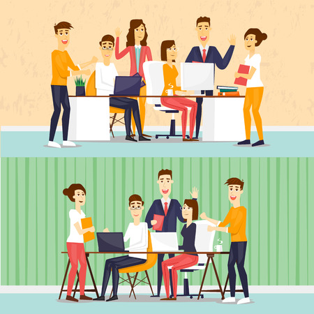 discussion meeting: Coworking people, business meeting, teamwork, business, collaboration and discussion, meeting around a conference table, brainstorm. Flat design vector illustration.