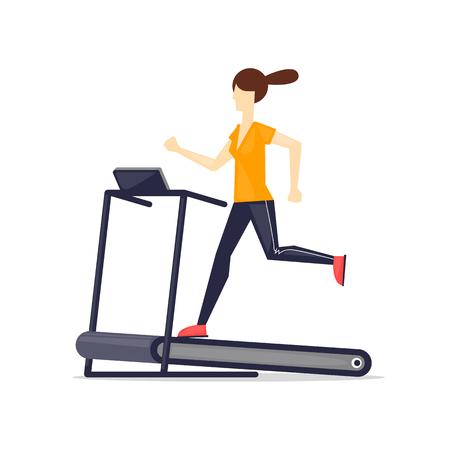 cartoon adult: Young adult girl running on treadmill, sport, fitness, athletics, healthy lifestyle. Cartoon. Vector illustration flat design.