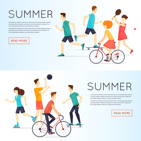 sports activity: Physical activity people engaged in outdoor sports, running, cycling, skateboarding, roller skating, summer. Flat design vector illustration. Banners. Illustration