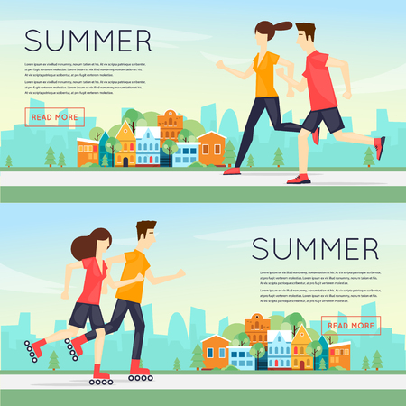 Physical activity people engaged in outdoor sports, running, rollers, summer. Flat design vector illustration. Banners.