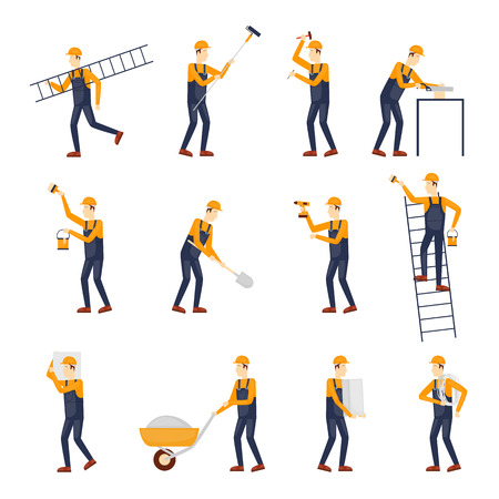 construction helmet: Builder, Repairs, Construction builder in yellow helmet working with different tools. Engineer. Worker Builder. Flat design vector illustration. Illustration