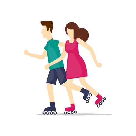 sports activity: Physical activity people engaged in outdoor sports, roller skating, summer. Flat design vector illustration. Illustration