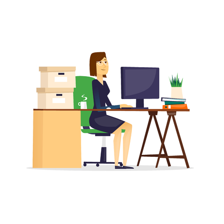 doing: Woman sitting at the table and working on the computer, on an isolated background. Flat design vector illustration. Illustration