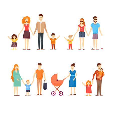 family isolated: Family, parents with kids, cartoon family, happy family, on an isolated background. Flat design vector illustration.