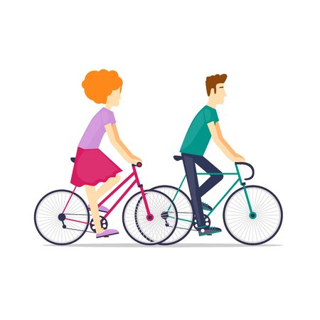Physical activity people engaged in outdoor sports, cycling, riding on an isolated background. Flat design vector illustration. Illustration