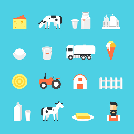 milk production: Milk, milk production, cow, plant, icon set. Flat design vector illustration.