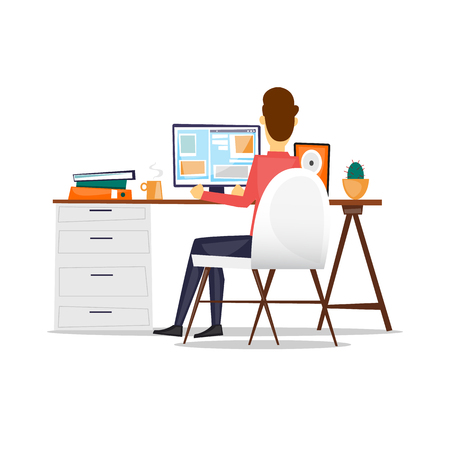 Man sitting at a desk and working on the computer back view, on an isolated background. Flat design vector illustration. Vettoriali