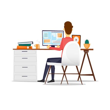 Man zit aan een bureau en werkt aan de computer achteraanzicht, op een geïsoleerde achtergrond. Vlakke ontwerp vectorillustratie.