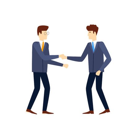 negotiating: Shaking hands happy standing negotiating, on an isolated background. Flat design vector illustration. Illustration