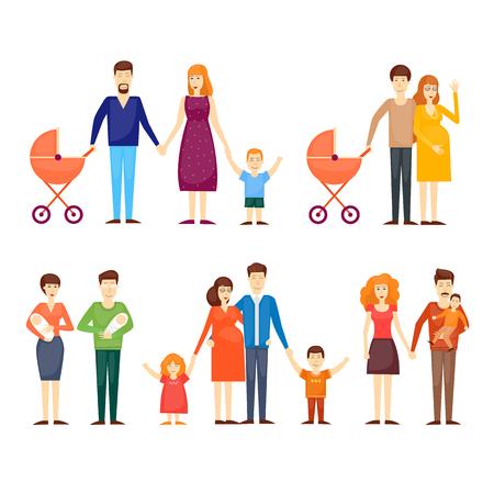 Los padres con niños, familia de dibujos animados, en un fondo aislado. ilustración vectorial diseño plano.