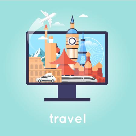 Het selecteren van reizen on-line, reis, de zomer, vakantie, het boeken on-line, koop ticket on-line. Platte ontwerp vector illustratie.