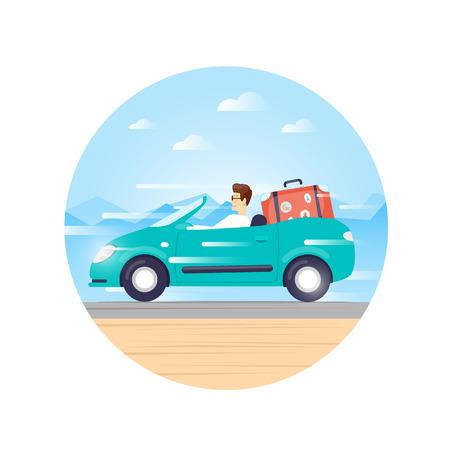 adventure holiday: Traveling by car cabriolet, adventure, vacation, holiday, summer. Flat design vector illustration. Illustration