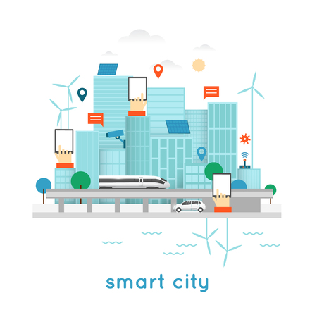 smart phone: Smart city. Internet, solar panels, wind power, water power. Office, Business. Flat design vector illustration.