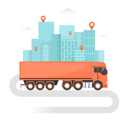 freight transportation: Freight truck, Shipping, Cargo Transportation, Freight, Logistics. Flat design vector illustration. Illustration