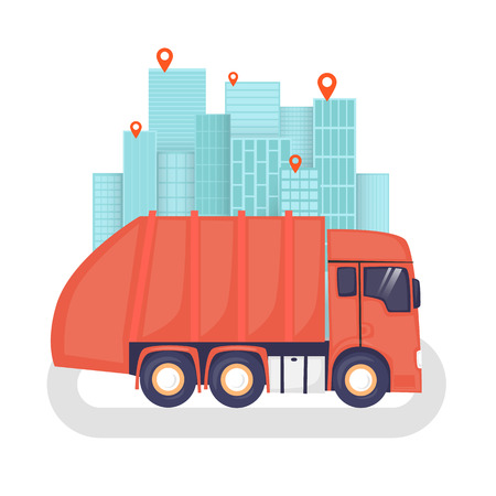 disposal: Garbage on the background of the city, garbage disposal, clean city. Flat design vector illustration.