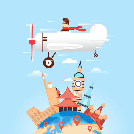 Travel by plane Russia, USA, Japan, France, England, Italy. World Travel. Planning summer vacations. Summer holiday. Tourism and vacation theme. Flat design vector illustration.