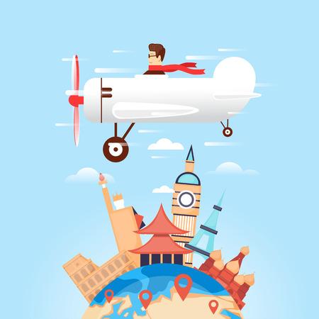 Viajar en avión a Rusia, EE.UU., Japón, Francia, Inglaterra, Italia. Viajes mundiales. La planificación de las vacaciones de verano. Vacaciones de verano. El turismo y el tema de vacaciones. ilustración vectorial diseño plano.