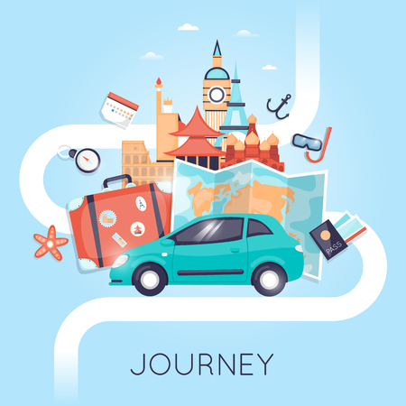 holiday vacation: Travel by car Russia, USA, Japan, France, England, Italy. World Travel. Planning summer vacations. Summer holiday. Tourism and vacation theme. Flat design vector illustration Illustration