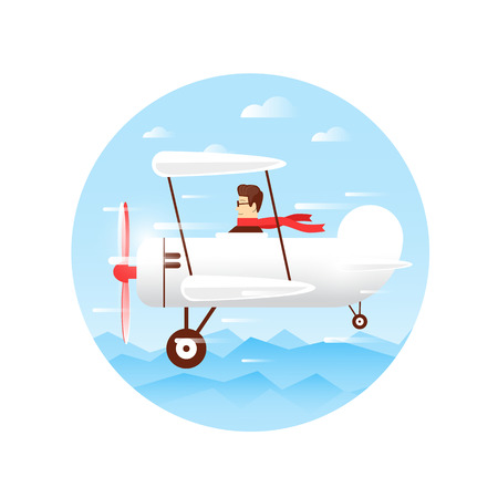 adventure holiday: Traveling by plane, flying over the mountains, adventure, vacation, holiday, summer. Flat design vector illustration.