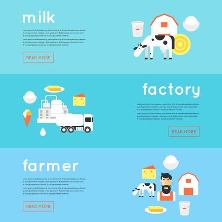 Milk, milk production, cow, plant, farm. Banners. Flat design illustration.