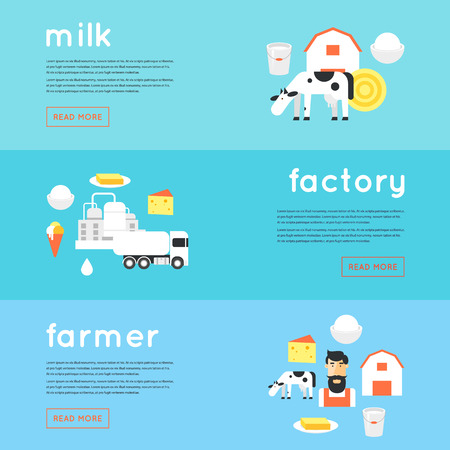 milk production: Milk, milk production, cow, plant, farm. Banners. Flat design illustration.