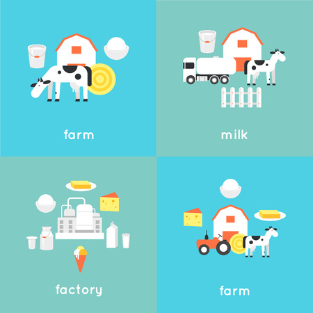 industry design: Milk, milk production, cow, plant, milk industry, milk manufacturing, farm. Flat design illustration.