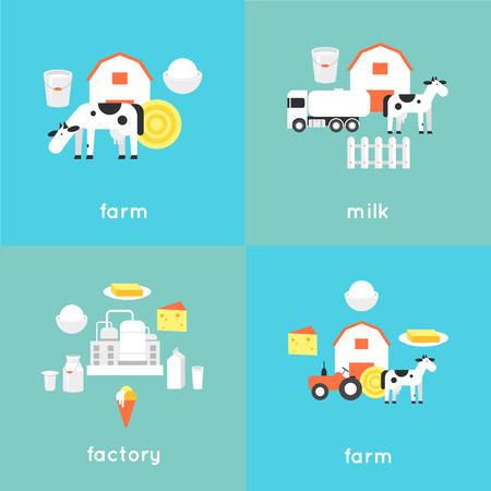 Milk, milk production, cow, plant, milk industry, milk manufacturing, farm. Flat design illustration.