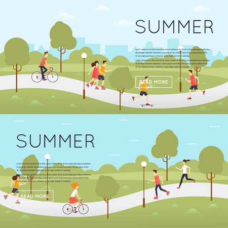 Physical activity people engaged in outdoor sports, running, roller skating, cycling, skateboarding, summer. Flat design illustration. Banners.