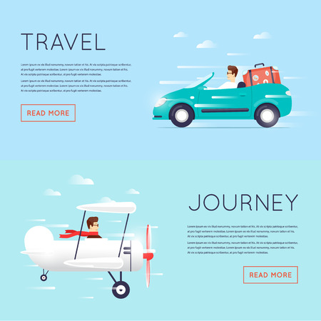 Traveling by car cabriolet, Traveling by plane, flying adventure, vacation, holiday, summer. Flat design illustration.