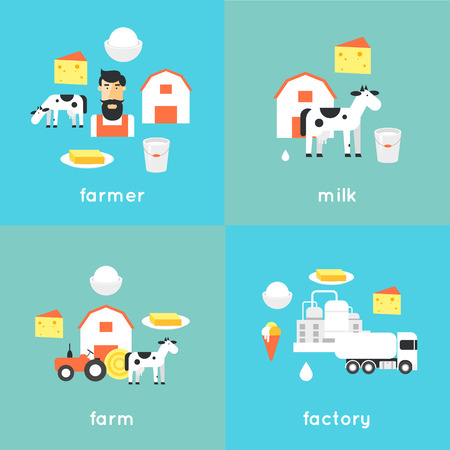milk production: Milk, milk production, cow, plant, milk industry, milk manufacturing, farm. Flat design illustration.