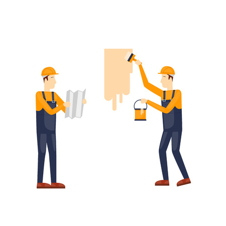 craftsman: Painting, painter. Craftsman painting. Builder, Repairs, painter in yellow helmet working with tools. Flat design illustration.