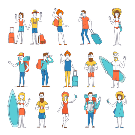 people travelling: Thin line People and couples travel-ling, surfing, leisure, hiking. Character design.