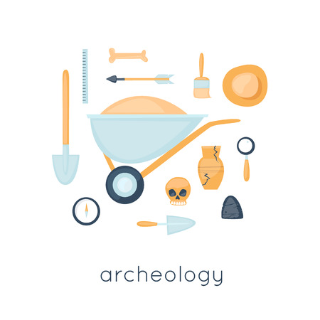 archaeologist: Archeology, archaeological excavations, ancient artifacts excavation, study, science. Instruments archaeologist. Flat design vector illustration.