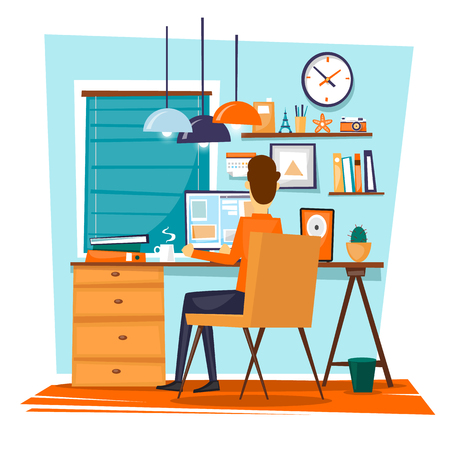 office work: Man sitting at the table and working on the computer. Business, office work, workplace. Flat design vector illustration.