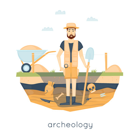paleontological: Archeology. Archaeologist leading the excavations, discovering a jug, treasure hunters ancient artifacts. Flat style vector illustration.