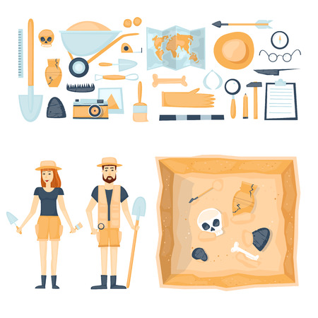 discovering: Archeology. Archaeologists man and woman, discovering a jug, treasure hunters ancient artifacts. Tools for excavations. Characters. Isolated on background. Flat style vector illustration. Illustration